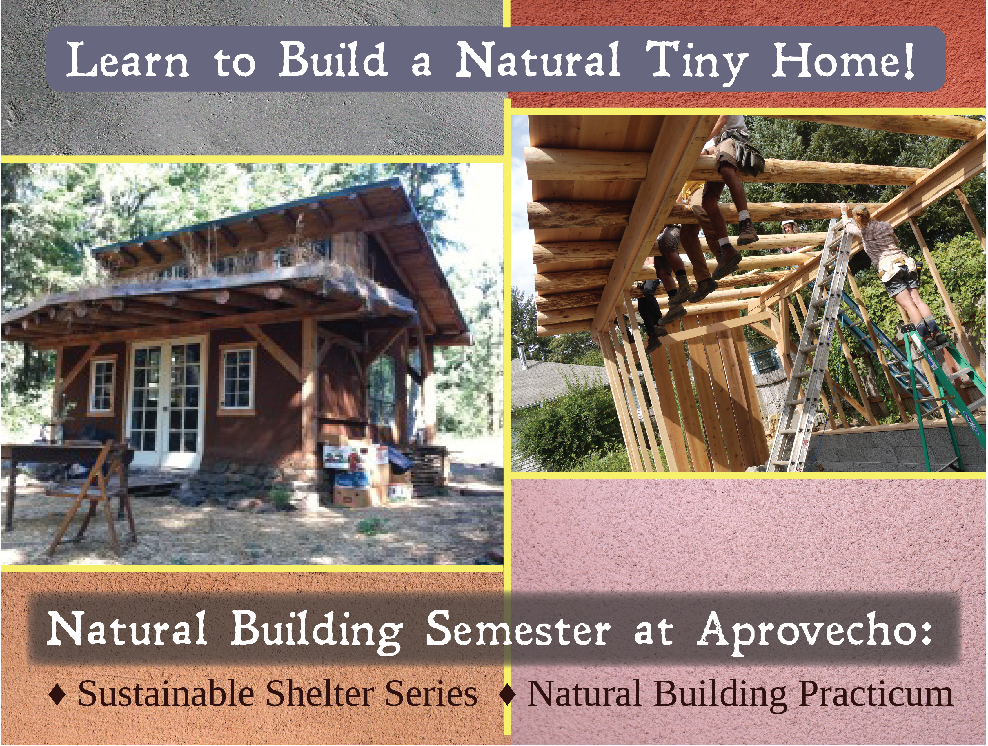 Learn how to build a tiny home from natural and sustainable materials! Topics include: foundations, timber framing, light straw clay insulation, strawbale insulation, natural plasters, round pole framing and light framing, design build projects, earthen floors, and so much more!