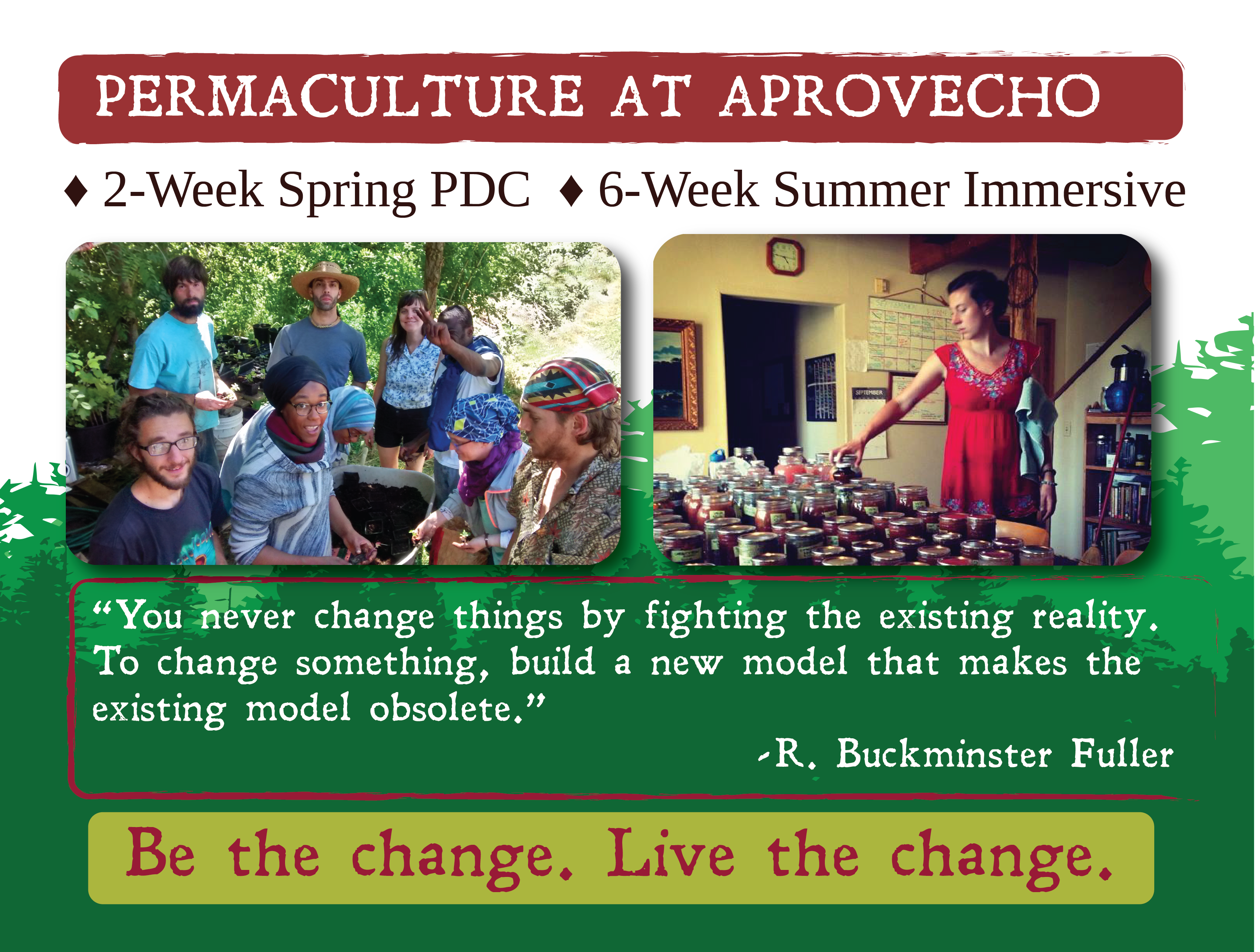 Learn Permaculture at Aprovecho! Begin your journey toward a permaculture life based on holistic system design using sustainable methods of farming, building, and living.